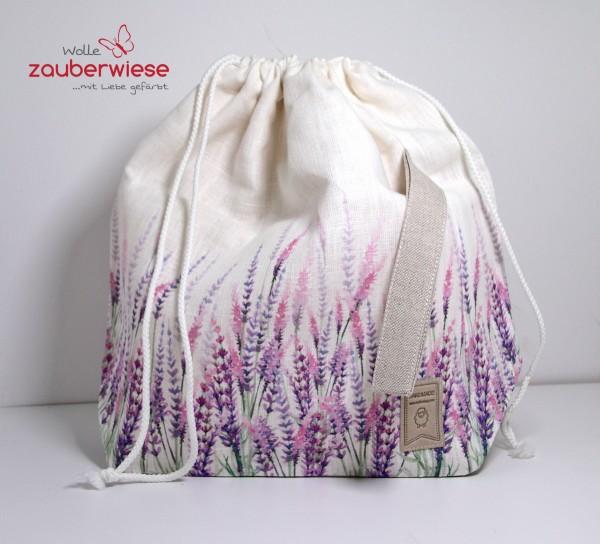Strickbeutel Lavendel/Leinen