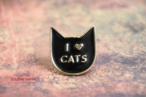 Emaille Pin i love cats