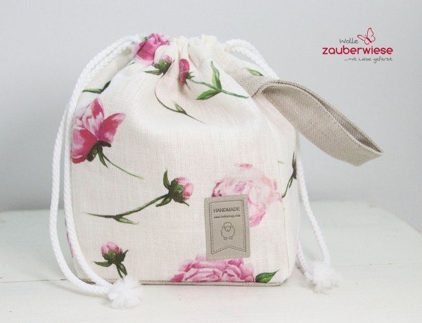 Strickbeutel Rose mini