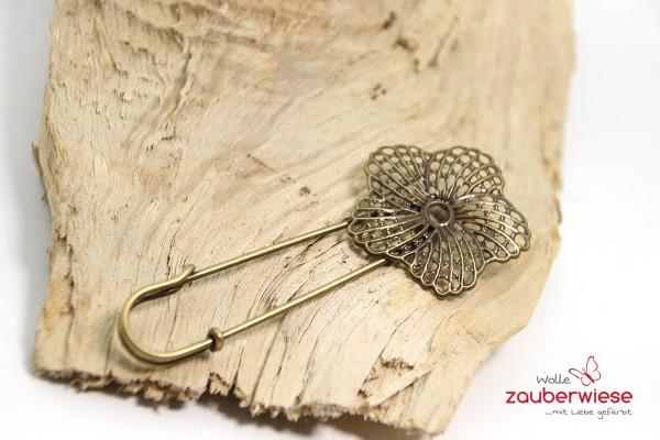 Schalnadel Blume bronzefarben