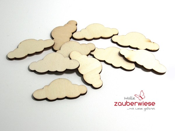 Holz Wolken 10 Stück