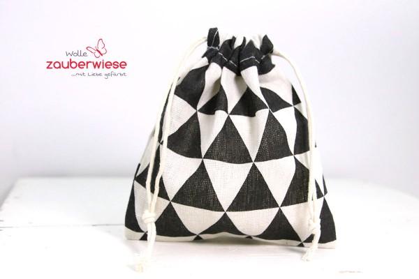 Baumwollbeutel Muster schwarz/weiß