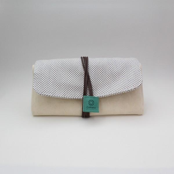 Mikawa Momen Nadeltasche grün/beige