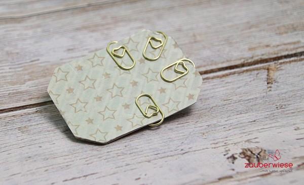 Papierklammern Herz goldfarben, 50 Stück