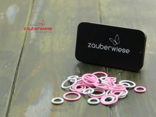 Maschenmarkierer 40 Stück, gemischt weiß-pink