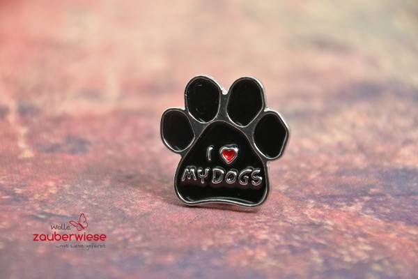 Emaille Pin i love my dogs