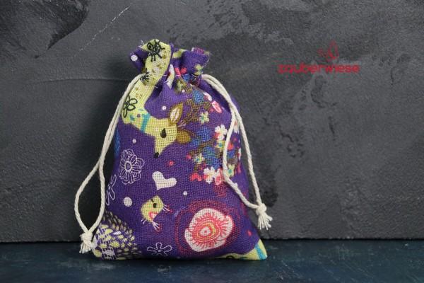 Baumwollbeutel Hirsch lila