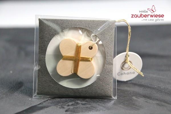 Garnspindel aus Holz gold
