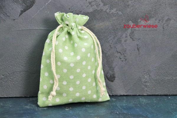 Baumwollbeutel gepunktet, weiß auf hellgrün