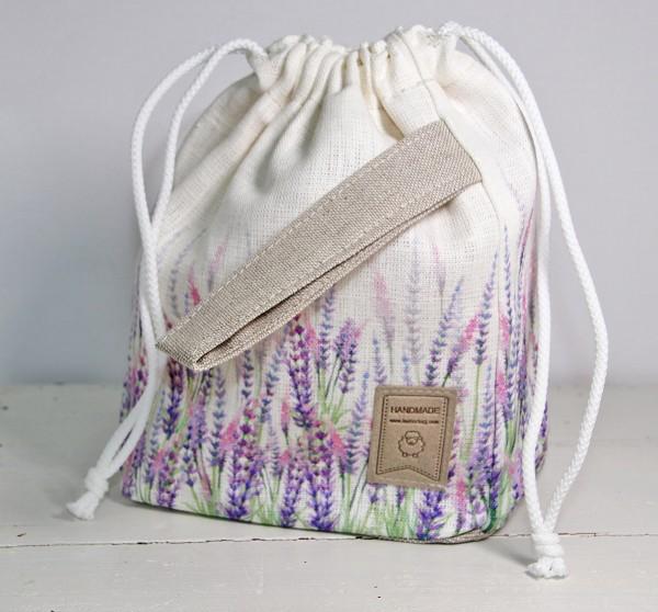 Strickbeutel Lavendel/Leinen mini