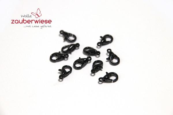 10 Karabinerverschlüsse, schwarz, 10mm