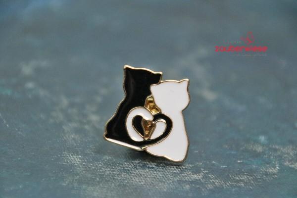 Emaille Pin Katzen Herz