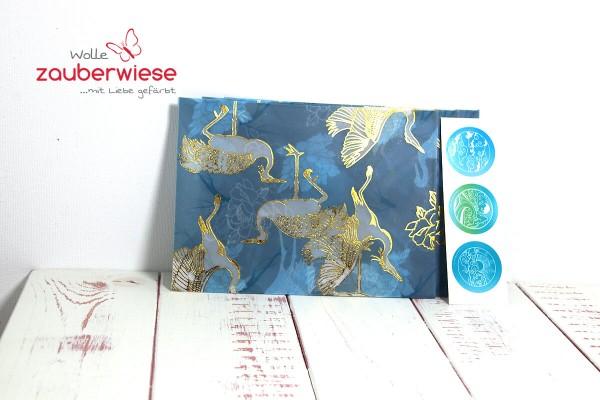 Umschlag Kraniche blau
