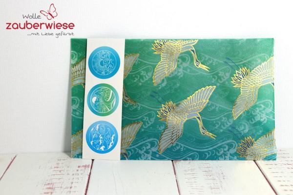Umschlag Kraniche türkisgrün
