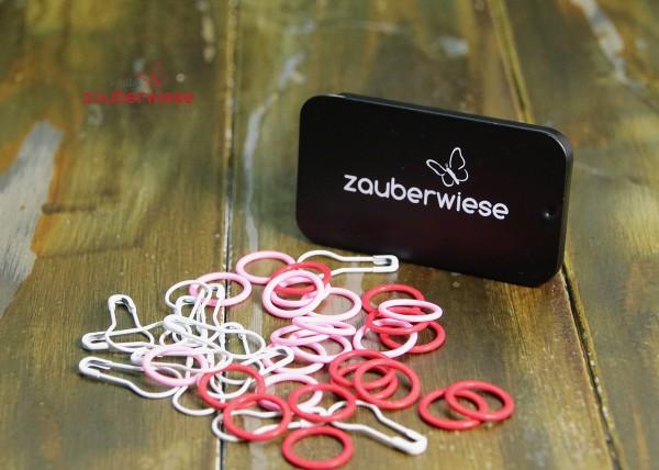 Maschenmarkierer 40 Stück, gemischt rot-rosa-weiß