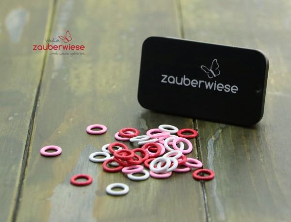 Maschenmarkierer 40 Stück, klein rot-weiß-pink