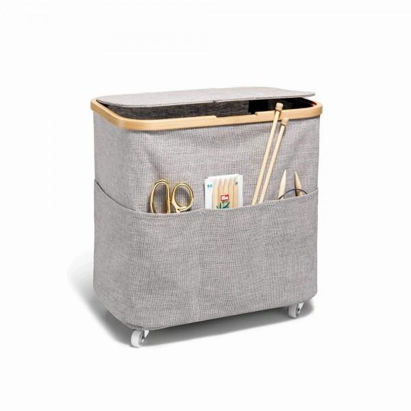 """Fold & Store Box Multi """"Canvas & Bamboo"""" grau, faltbar mit Rollen, Prym"""