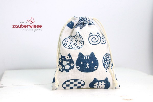 Baumwollbeutel Katze blau