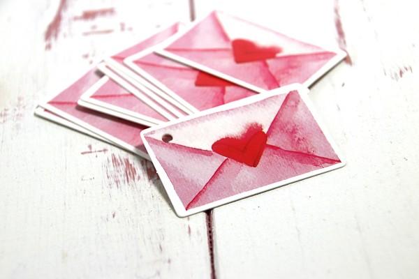 Anhänger Herzbrief 10 Stück