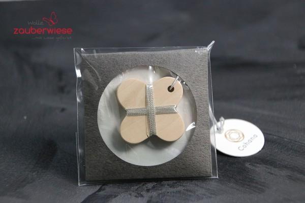 Garnspindel aus Holz silber
