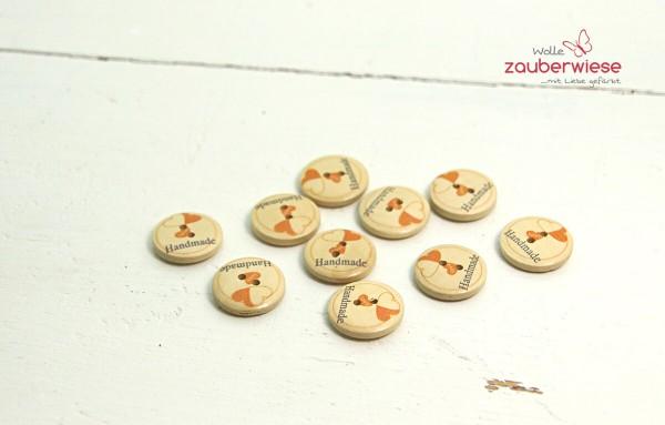 Holzknöpfe Herz orange 19mm