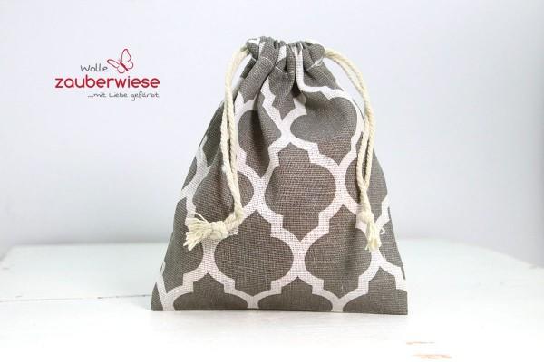 Baumwollbeutel Muster weiß/grau