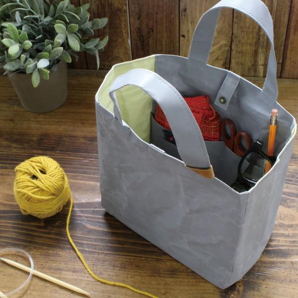 Washi Projekttasche grau/gelb