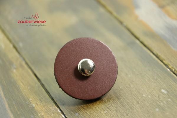 Leather Pedestal Button medium chocolate