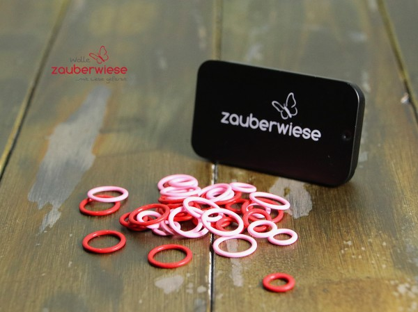 Maschenmarkierer 40 Stück, gemischt rot-pink