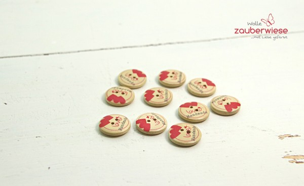 Holzknöpfe Herz rot 19mm