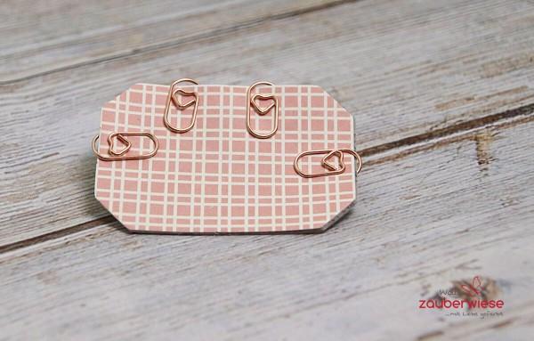 Papierklammern Herz rosegoldfarben, 50 Stück