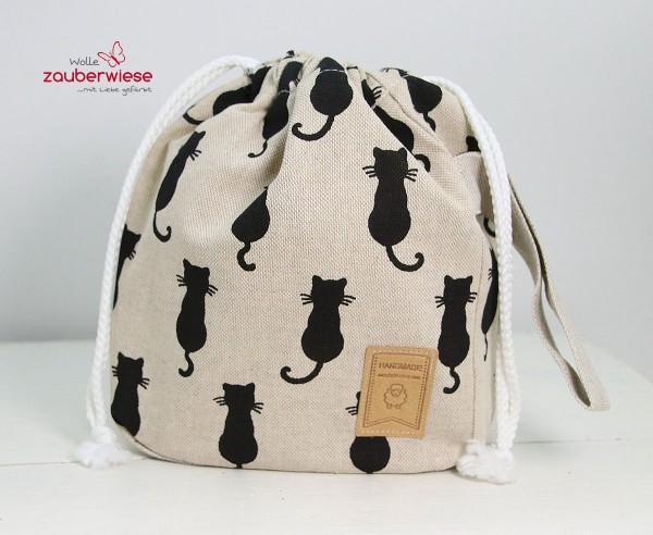 Strickbeutel Katze sitzend mini