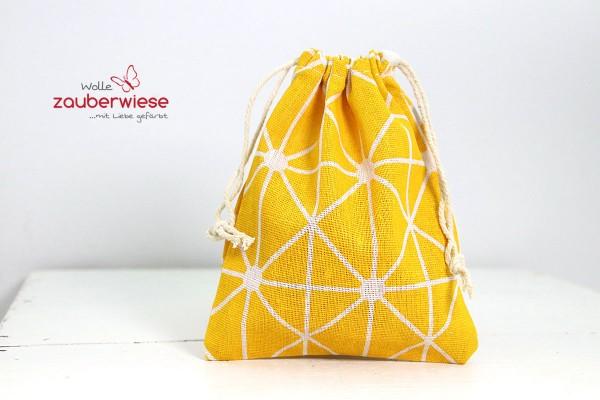 Baumwollbeutel Muster weiß/gelb