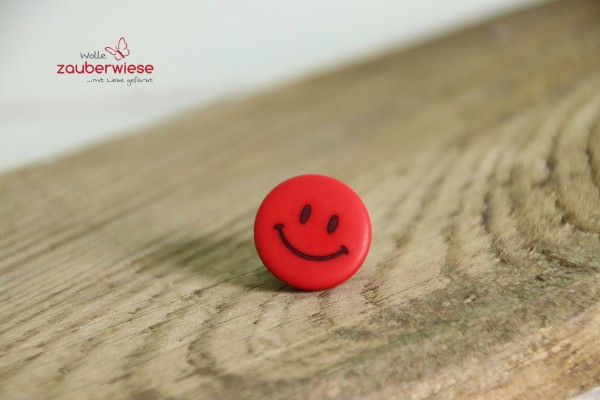 Knopf 15mm Smiley rot