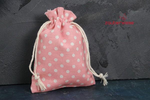 Baumwollbeutel gepunktet, weiß auf rosa