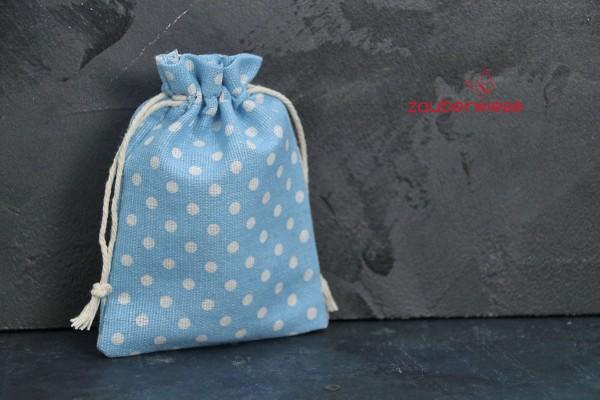 Baumwollbeutel gepunktet, weiß auf hellblau