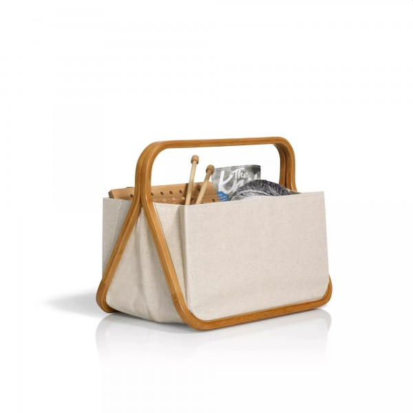 "Fold & Store Basket ""Canvas & Bamboo"" Natur, Prym"