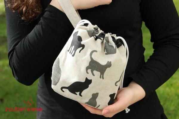 Strickbeutel Katze grau schwarz mini