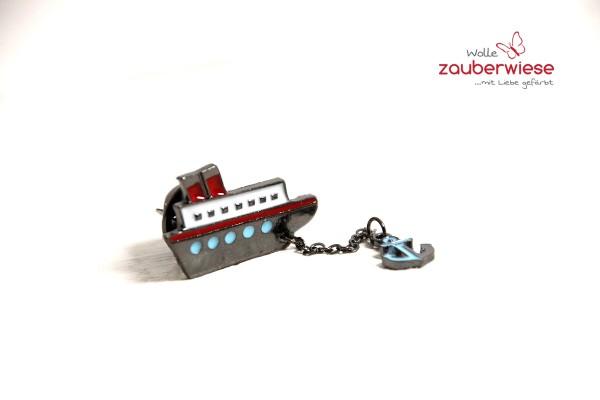 Emaille Pin Schiffchen mit Anker